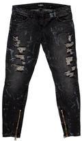 Balmain Embellished Distressed Jeans