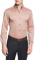 Ermenegildo Zegna Flannel Long-Sleeve Sport Shirt, Orange
