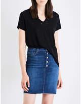J Brand Janis jersey and linen-blend T-shirt