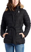 U.S. Polo Assn. Black Faux Fur Belted Hooded Puffer Coat