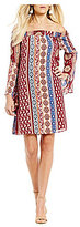 Moa Moa Printed Off-The-Shoulder Bell Sleeve Dress