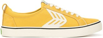 Cariuma CATIBA Low Stripe Spice Yellow Suede and Canvas Contrast Thread Sneaker