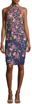 Jovani Sleeveless Embroidered Floral Lace Cocktail Dress, Navy