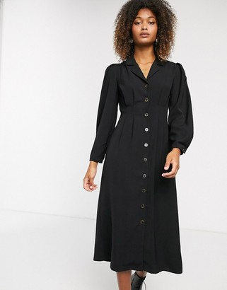 Selected midi button down tea dress-Black