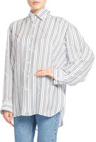 Balenciaga Star-Striped Pinch-Back Shirt, White Pattern