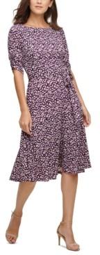 Jessica Howard Petite Ruched-Sleeve Midi Fit & Flare Dress