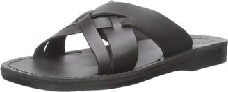 Jerusalem Sandals Jesse - Leather Woven Strap Sandal | Black