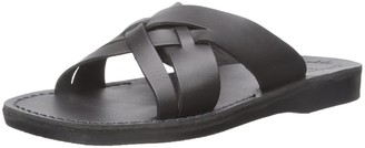 Jerusalem Sandals Jesse - Leather Woven Strap Sandal - Mens Sandals Black