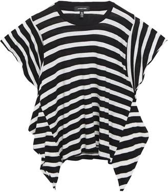 R 13 Asymmetric Striped Cotton And Cashmere-blend T-shirt