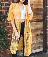Leto Collection Women's Kimono Cardigans Mustard - Mustard Sheer Lace-Accent Kimono - Women
