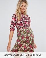 Asos Mixed Print Ditsy Skater Dress