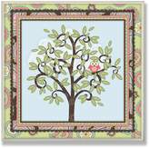 Stupell Industries The Kids Room by Stupell Pink Owl in a Tree with a Paisley Border Square Wall Plaque
