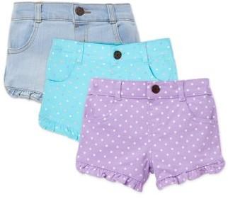 Garanimals Baby Girl Denim & Twill Shorts, 3-Pack