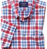 Charles Tyrwhitt Slim fit button-down poplin short sleeve sky blue and red check shirt