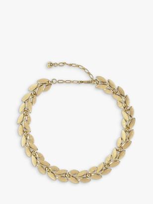 Susan Caplan Vintage Trifari Gold Plated Brushed Leaf Collar Necklace, Gold