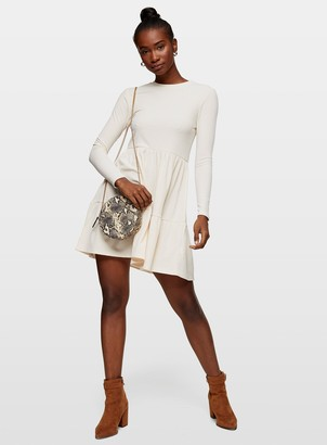 Miss Selfridge Ivory Long Sleeve Ribbed Tiered Smock Dress