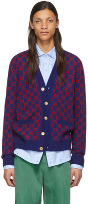 Gucci Blue and Red GG Cardigan
