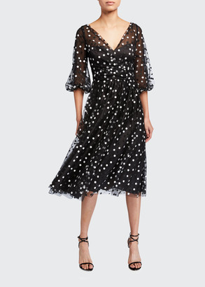 Carmen Marc Valvo Dotted Tulle Puff-Sleeve Dress