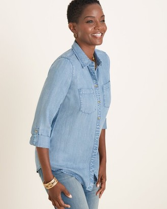 Chico's Chicos Half-Button Denim Shirt
