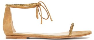 Gianvito Rossi Crystal-embellished Suede Sandals - Gold
