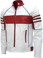 LJS Men's Stylish & Red Biker Leather Jacket : Celesse