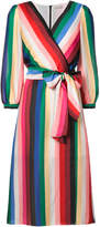Alice + Olivia Alice+Olivia rainbow stripe wrap dress