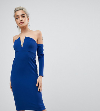 Asos V Bar Bardot Textured Midi Dress