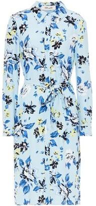 Diane von Furstenberg Belted Snake-print Crepe Shirt Dress