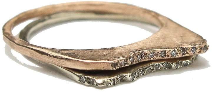 Blair Lauren Brown Jewelry 14k Gold & Pave Diamond Studded Mount Shasta Ring