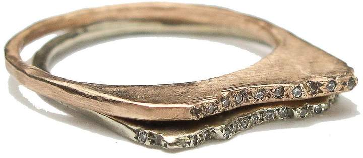 Ralph Lauren Blair Brown Jewelry 14k Gold & Pave Diamond Studded Mount Shasta Ring