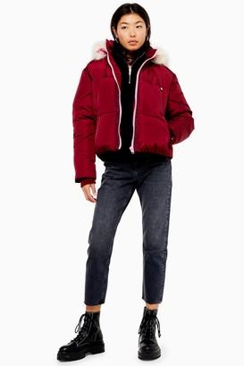 Topshop Burgundy Puffer Jacket