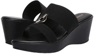 Anne Klein Hadya Wedge Sandal (Black) Women's Shoes