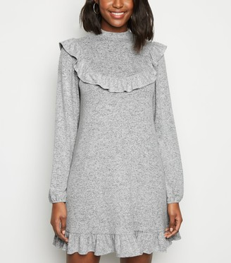 New Look Frill Trim Soft Knit Smock Dress