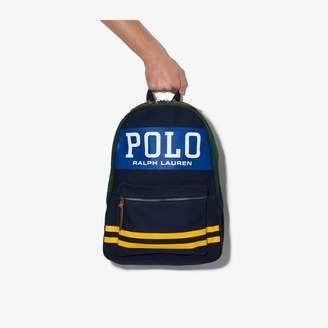 Polo Ralph Lauren Blue striped logo print canvas backpack