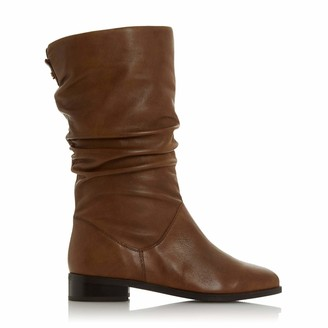 Dune London Dune Ladies Women's Rosalinda Ruched Calf Boots Size UK 6 Tan Block Heel Calf Boots