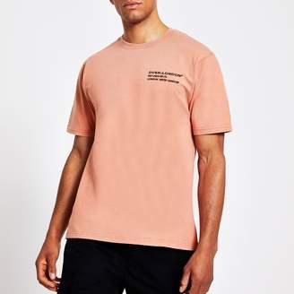 River Island Mens Orange pink chest print slim fit T-shirt