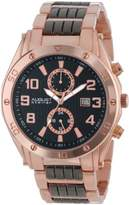 August Steiner Men's Premium Multifunction Watch with Black Dial and Two-Tone Alloy Bracelet AS8070RG