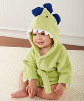Baby Aspen Green French Terry Dinosaur Hooded Robe