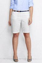 "Classic Women's Plus Size Mid Rise 10"" Bermuda Shorts-White"