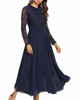 Roiii Womens Chiffon Lace Long Party Cocktail Evening Swing Maxi Dress Plus Size (18