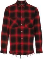 Amiri distressed plain cotton flannel shirt
