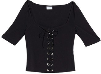 Abound Lace-Up Grommet Shirt