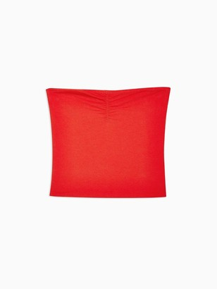 Topshop Ruched Bandeau - Red