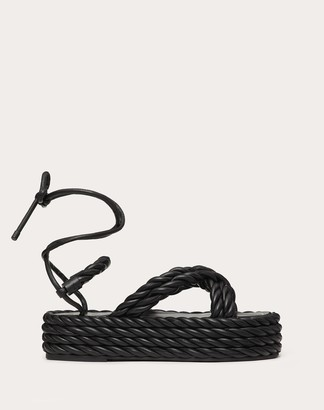 Valentino The Rope Nappa Flatform Sandal Women Black 100% Lambskin 35