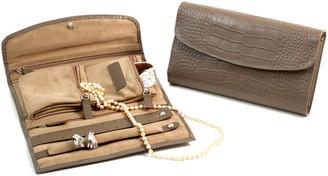 Bey-Berk Bey Berk Croco Leather Multi Compartment Jewelry Clutch