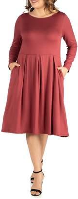 24/7 Comfort Long Sleeve Pocket Midi Dress (Plus Size)