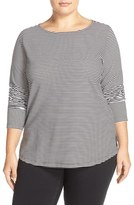 Sejour Stripe Ballet Neck Long Sleeve Tee (Plus Size)