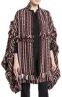 burberry fringed jacquard blanket cape russet brown