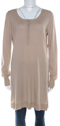 Loro Piana Beige Cashmere Long Sleeve Tunic Top L