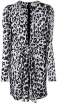 Saint Laurent long sleeve plunge dress - women - Silk - 38